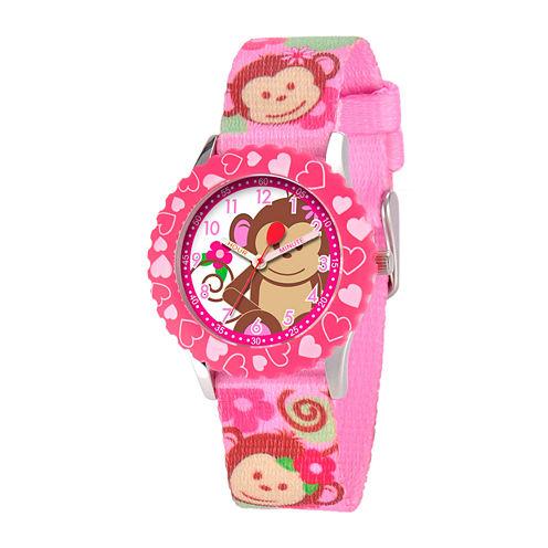 Red Balloon™ Girls' Pink Monkey Strap Watch