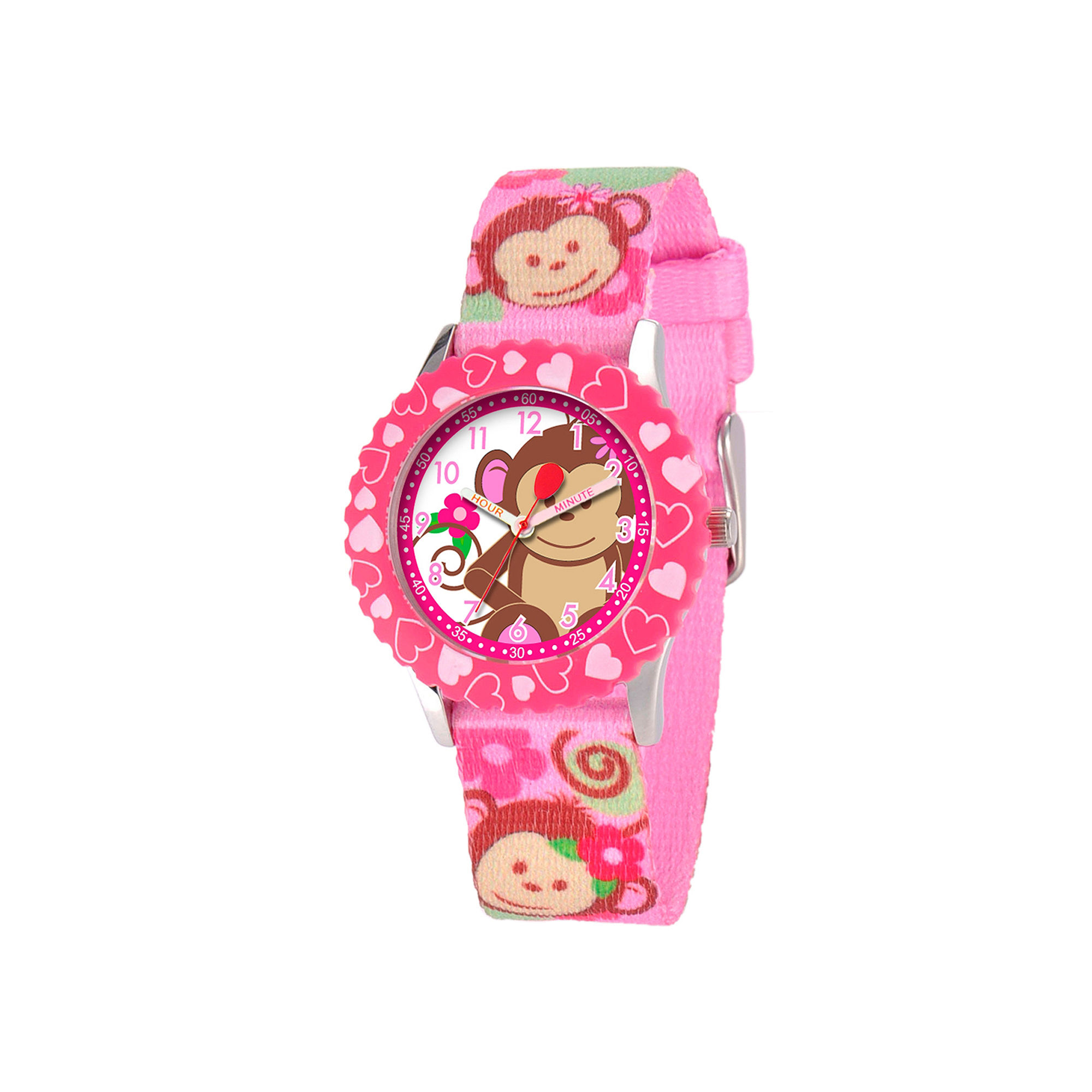 Red Balloon™ Girls' Pink Monkey Strap Watch