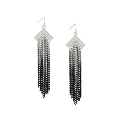 nicole by Nicole Miller® Glass Crystal Silver-Tone Drop Earrings