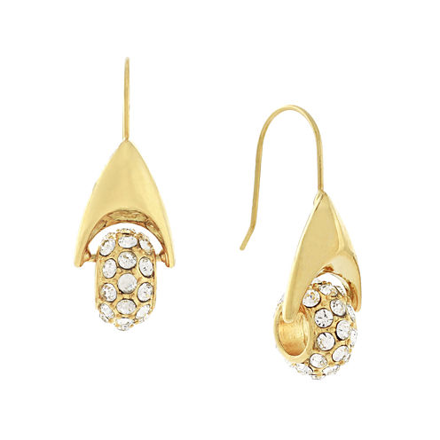 nicole by Nicole Miller® Pave Gold-Tone Crystal Drop Earrings