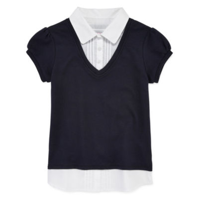 IZOD® Exclusive Short Sleeve Layered-Look Top - Girls 4-16 and Plus
