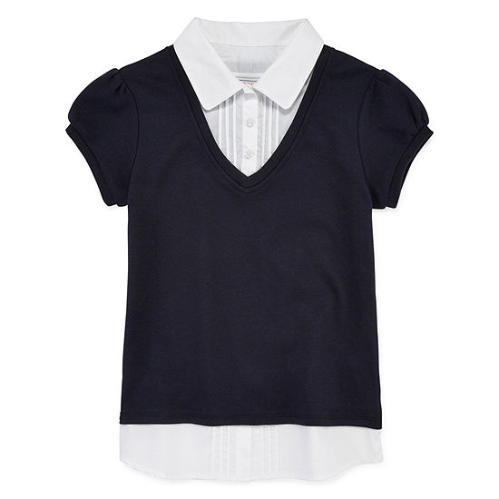 IZOD Girls Short Sleeve Layered Top