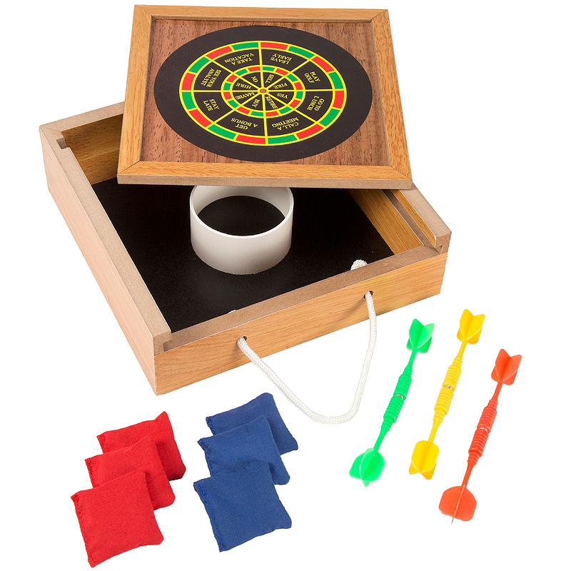 Hey! Play! Tabletop Bean Bag Toss and Magnetic Dart Game Set