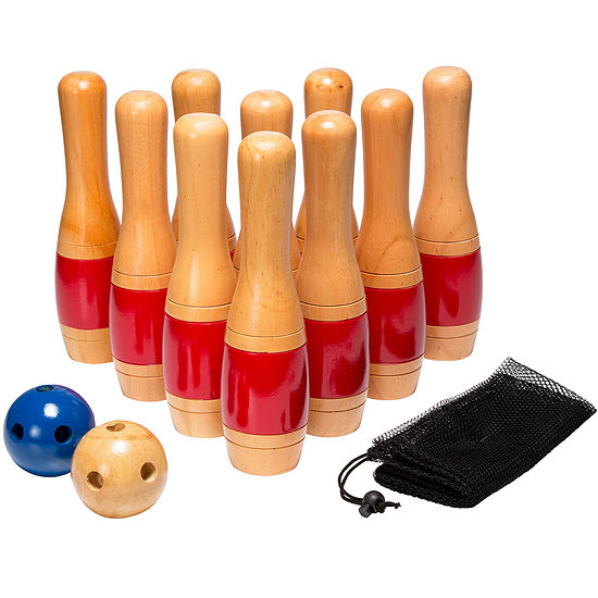 """Hey! Play! 11"""" Wooden Lawn Bowling Set"""