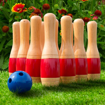 "Hey! Play! 11"" Wooden Lawn Bowling Set"