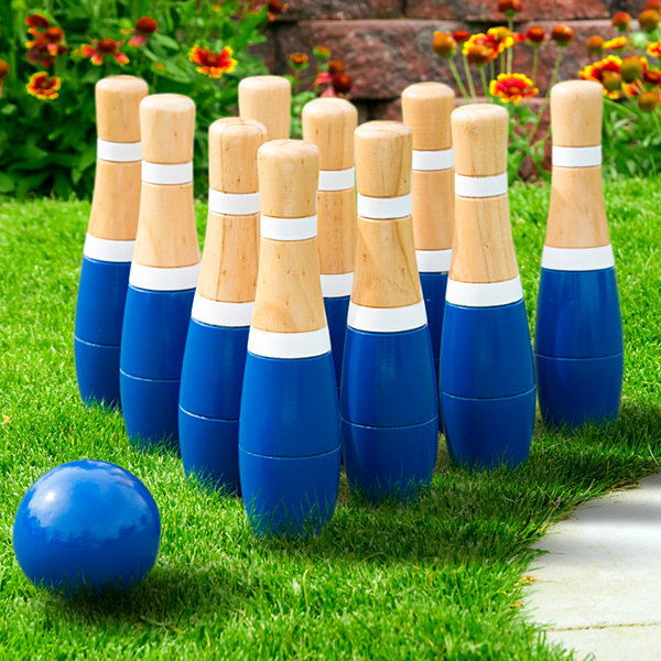 "Hey! Play! 8"" Wooden Lawn Bowling Set"