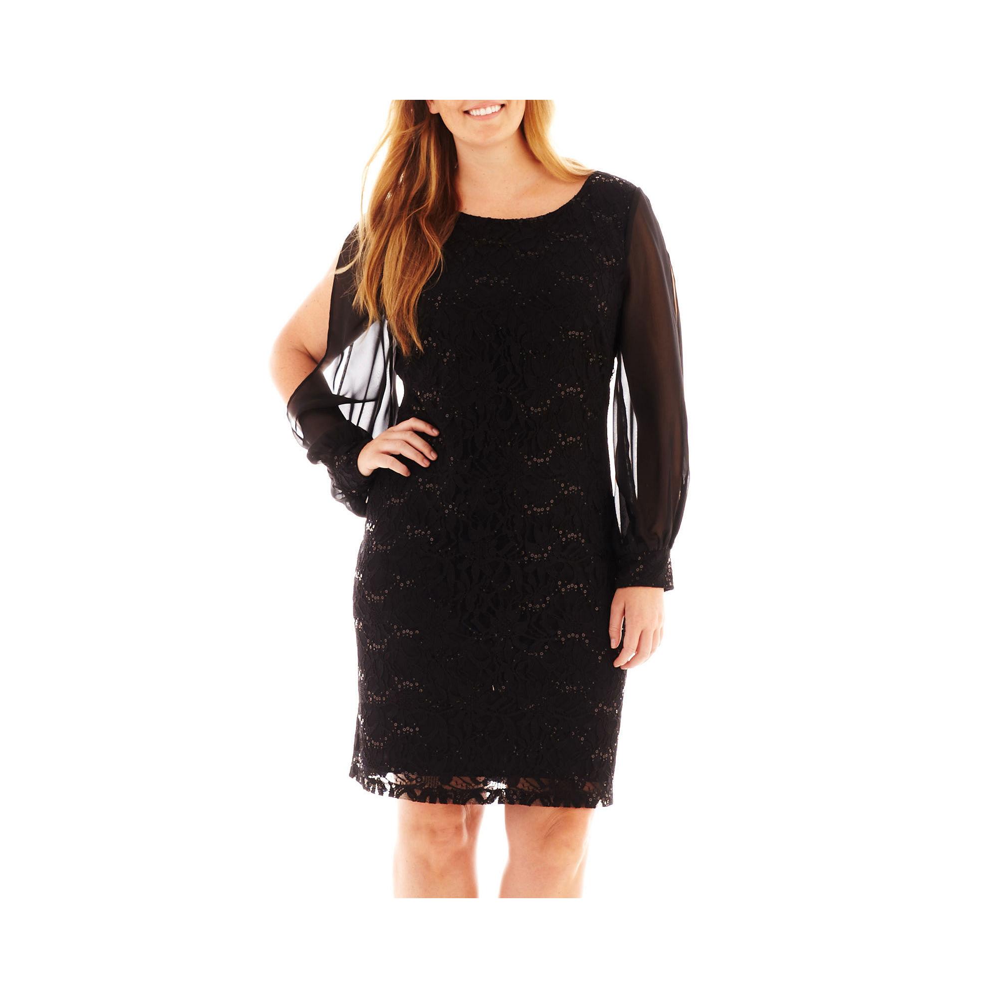 cc9b8ec3 UPC 706990451050 product image for Scarlett Long-Sleeve Lace and Chiffon  Dress - Plus