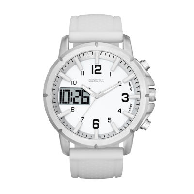 Geneva Mens White Strap Watch-Fmdjm575