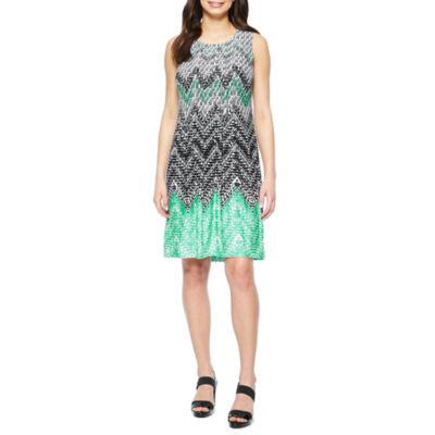 Perceptions Sleeveless Pattern Shift Dress