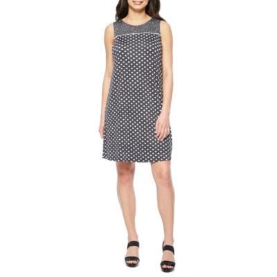 Perceptions Sleeveless Dots Shift Dress