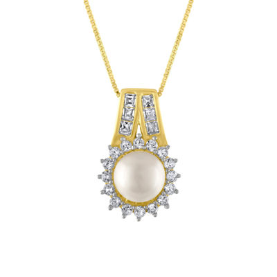 Womens White Pearl Gold Over Silver Pendant Necklace