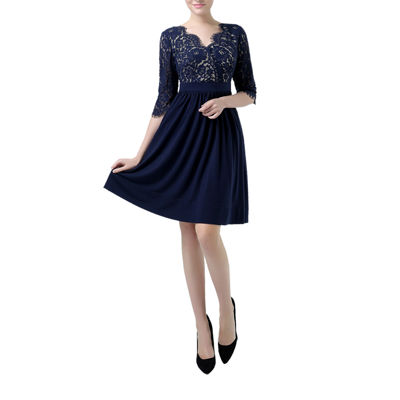 Phistic Adela Elbow Sleeve Fit & Flare Dress