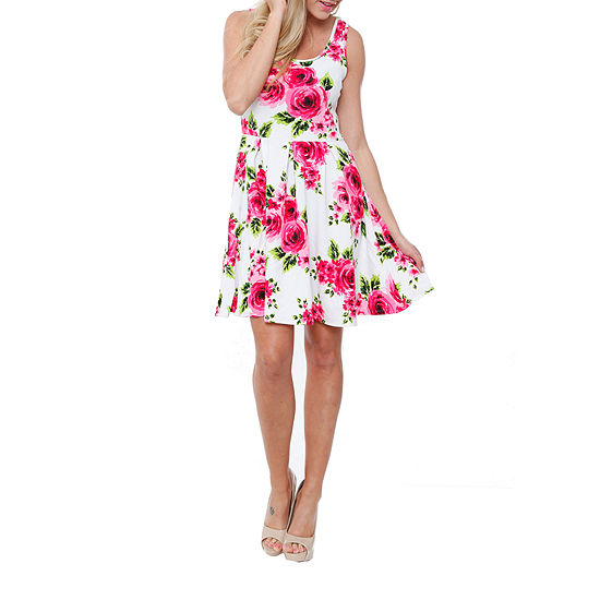 White Mark Crystal Sleeveless Floral Fit & Flare Dress