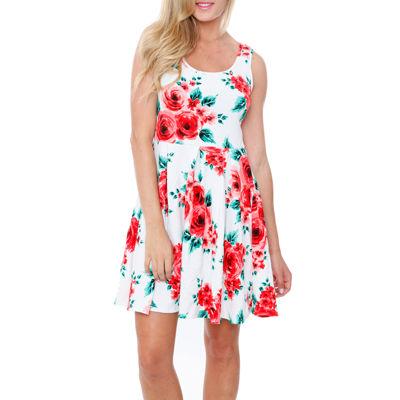 White Mark Crystal Sleeveless Floral Sheath Dress