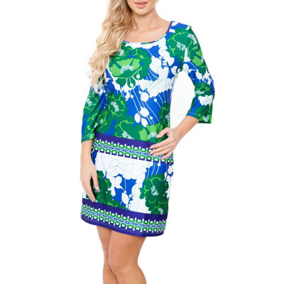 White Mark Bridget 3/4 Sleeve Floral Sheath Dress