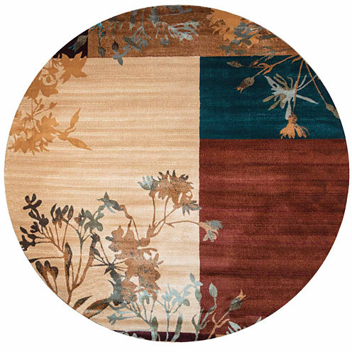 Rizzy Home Bellevue Block Floral Round Rugs