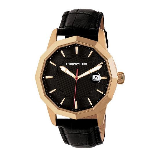 Morphic Unisex Adult Black Leather Bracelet Watch-Mph5604
