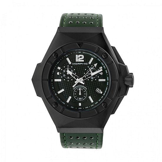 Morphic Unisex Adult Green Leather Bracelet Watch-Mph5505