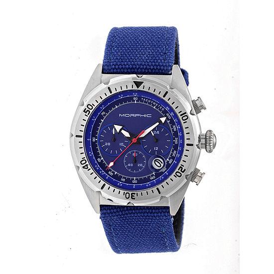 Morphic Unisex Adult Blue Leather Bracelet Watch-Mph5303