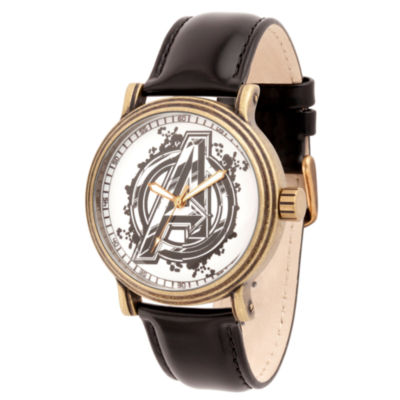Avengers Mens Black Strap Watch-Wma000250