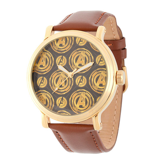 Avengers Avengers Mens Brown Strap Watch-Wma000251