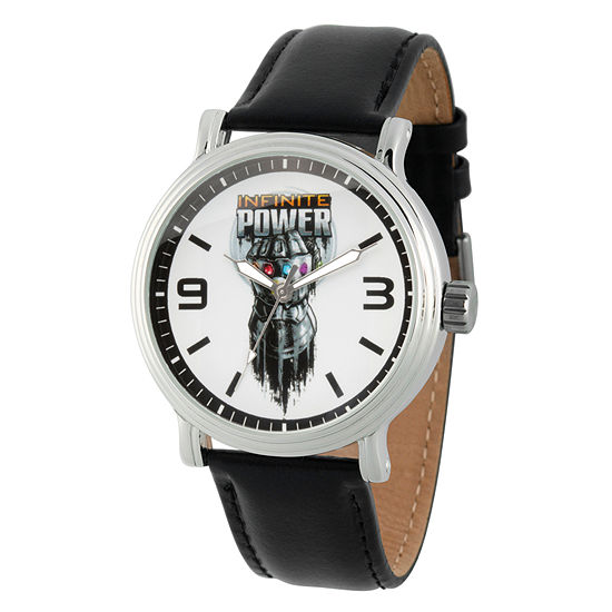 Avengers Mens Black Leather Strap Watch-Wma000253