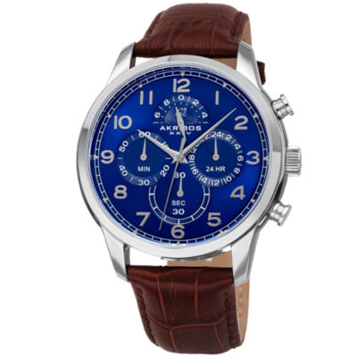 Akribos XXIV Mens Brown Strap Watch-A-1004ssbr