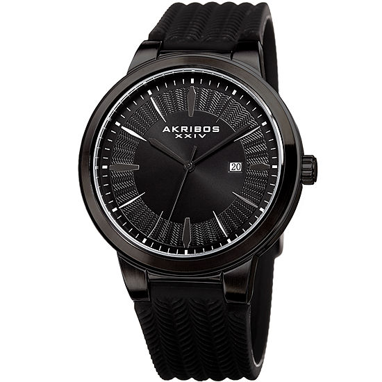 Akribos XXIV Mens Black Bracelet Watch-A-1007bk