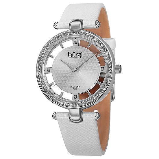 Burgi Womens White Strap Watch-B-104wts