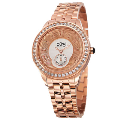 Burgi Womens Rose Goldtone Strap Watch-B-106rg