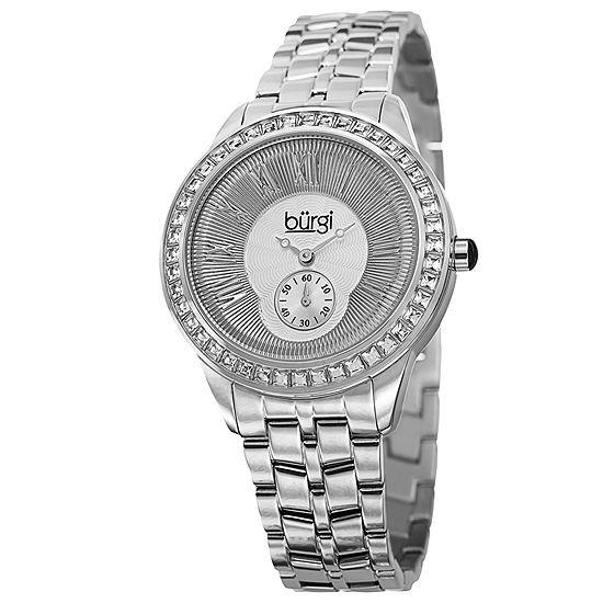Burgi Set With Swarovski Crystals Womens Silver Tone Stainless Steel Strap Watch-B-106ss