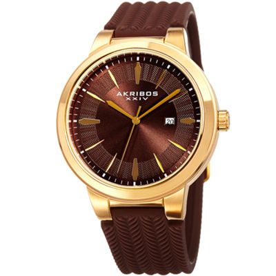 Akribos XXIV Mens Brown Bracelet Watch-A-1007ygbr