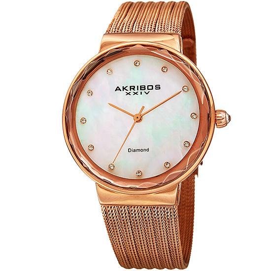 Akribos XXIV Womens Rose Goldtone Stainless Steel Bracelet Watch-A-1009rg