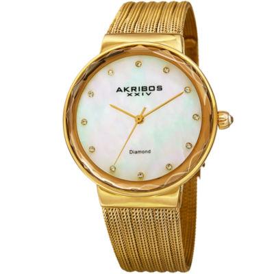 Akribos XXIV Womens Gold Tone Bracelet Watch-A-1009yg