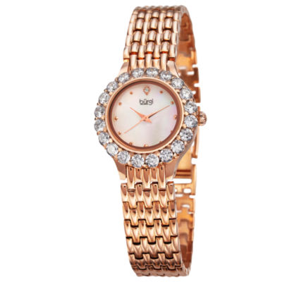 Burgi Womens Rose Goldtone Strap Watch-B-107rg