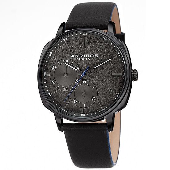 Akribos XXIV Mens Black Strap Watch-A-1022bk