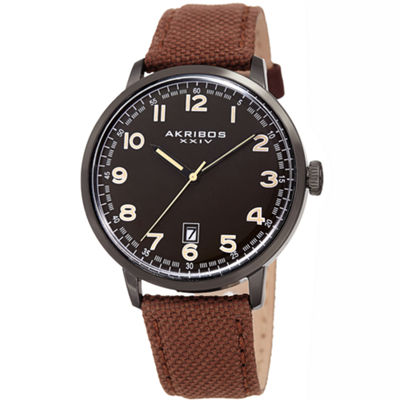 Akribos XXIV Mens Brown Strap Watch-A-1025bkbr
