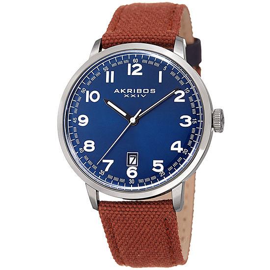 Akribos Xxiv Mens Brown Strap Watch A 1025brbu