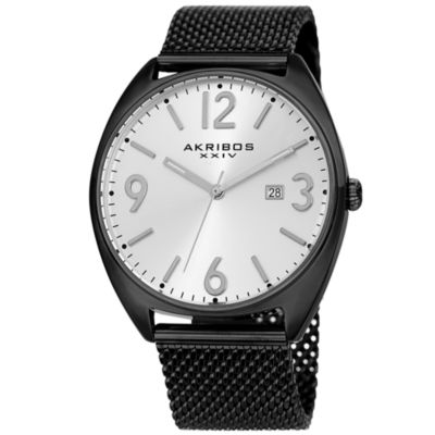 Akribos XXIV Mens Black Strap Watch-A-1026bk