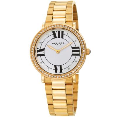 Akribos XXIV Womens Gold Tone Strap Watch-A-1036yg