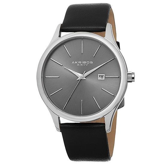 Akribos XXIV Mens Black Leather Strap Watch-A-618ss