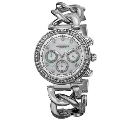 Akribos XXIV Womens Silver Tone Strap Watch-A-640ss