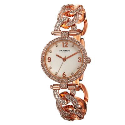 Akribos XXIV Womens Rose Goldtone Strap Watch-A-756rg