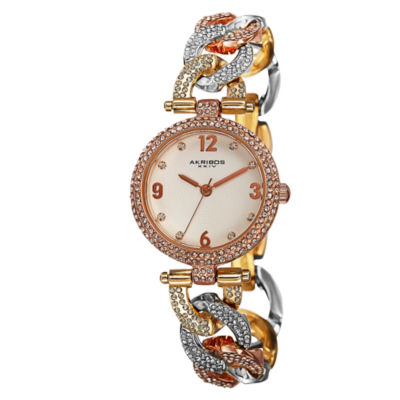 Akribos XXIV Womens Two Tone Strap Watch-A-756tri