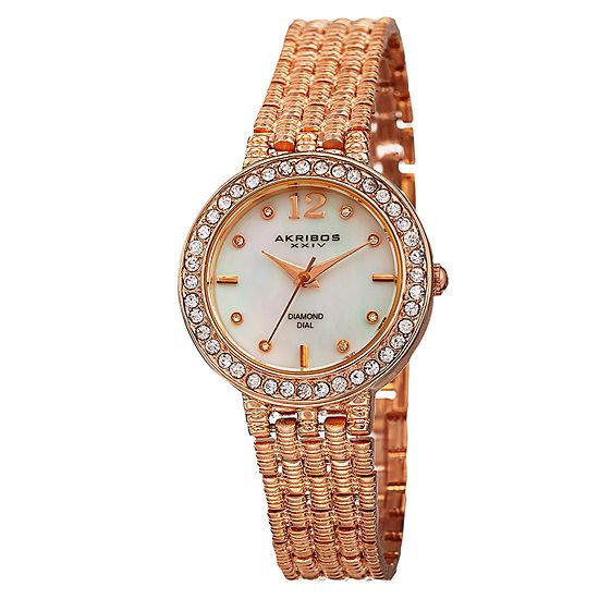 Akribos XXIV Womens Rose Goldtone Strap Watch-A-757rg