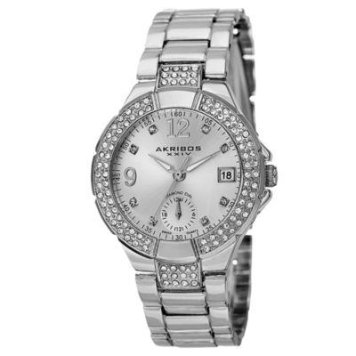 Akribos XXIV Womens Silver Tone Strap Watch-A-775ss