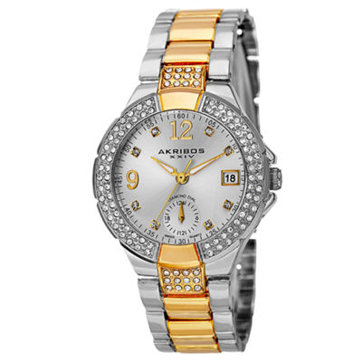 Akribos XXIV Womens Two Tone Strap Watch-A-775ttg