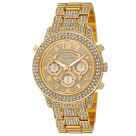 Akribos XXIV Womens Gold Tone Strap Watch-A-776yg