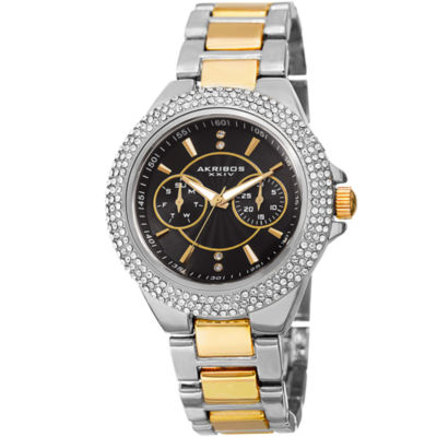 Akribos XXIV Womens Two Tone Strap Watch-A-789ttgb