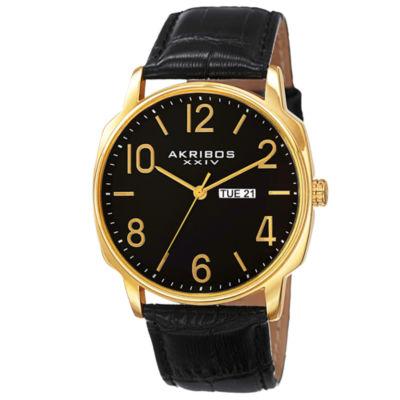 Akribos XXIV Mens Black Strap Watch-A-801yg